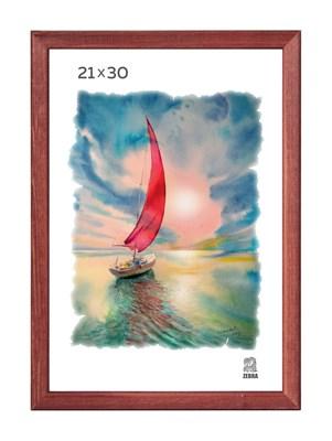 Рамка деревянная 21х30 см цвет красное дерево 13 профиль - фото 7391