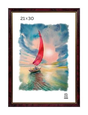 Рамка пластиковая 21х30 см цвет бордовый 1 профиль - фото 7671