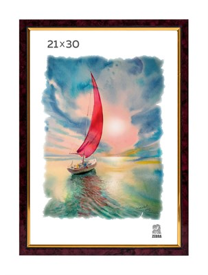 Рамка пластиковая 21х30 см цвет бордовый 2 профиль - фото 7716