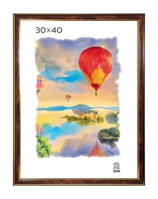 Рамка пластиковая 30х40 см цвет коричневый 3 профиль - фото 7799