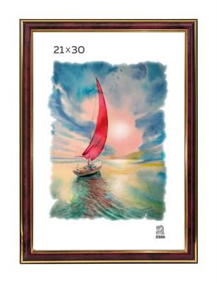 Рамка пластиковая 21х30 см цвет бордовый 3 профиль - фото 7811