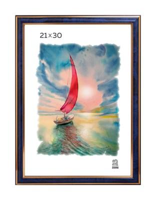 Рамка пластиковая 21х30 см цвет синий 3 профиль - фото 7846