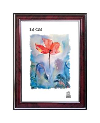 Рамка пластиковая 13х18 см цвет бордовый с серебряным декором 3 профиль - фото 7897