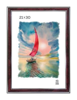 Рамка пластиковая 21х30 см цвет бордовый с серебряным декором 3 профиль - фото 7903