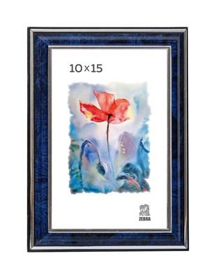 Рамка пластиковая 10х15 см цвет синий с серебряным декором 3 профиль - фото 7909