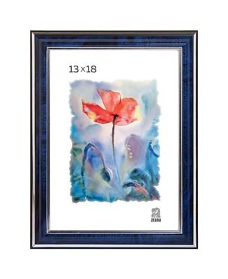 Рамка пластиковая 13х18 см цвет синий с серебряным декором 3 профиль - фото 7911