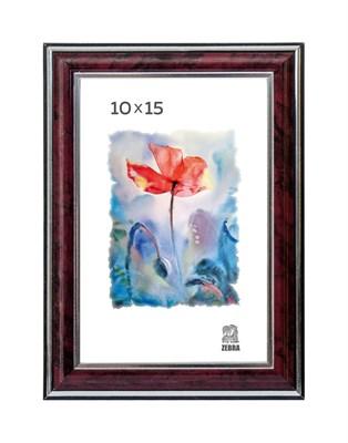 Рамка пластиковая 10х15 см цвет бордовый с серебряным декором 3 профиль - фото 7917