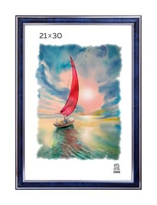 Рамка пластиковая 21х30 см цвет синий с серебряным декором 3 профиль - фото 7920