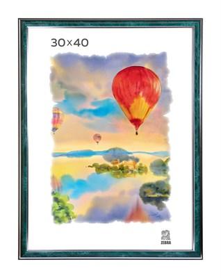 Рамка пластиковая 30х40 см цвет зеленый с серебряным декором 3 профиль - фото 7938