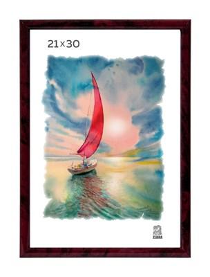Рамка пластиковая 21х30 см цвет бордовый 5 профиль - фото 7983