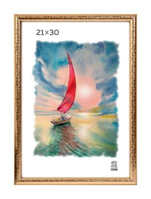 Рамка пластиковая 21х30 см цвет золотой 5 профиль - фото 8045