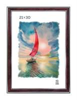 Рамка пластиковая 21х30 см цвет бордовый с серебряным декором 3 профиль