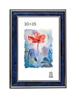 Рамка пластиковая 10х15 см цвет синий с серебряным декором 3 профиль