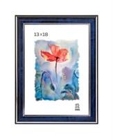 Рамка пластиковая 13х18 см цвет синий с серебряным декором 3 профиль