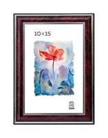 Рамка пластиковая 10х15 см цвет бордовый с серебряным декором 3 профиль